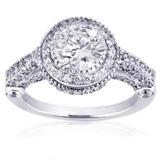 14k White Gold Round Diamond Engagement Ring Wedding Band