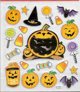 Halloween Pumpkin bats candy corn scrapbooking stickers