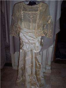 ANTIQUE 1890s VICTORIAN EDWARDIAN TATTED LACE/SATIN WEDDING DRESS