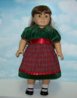 Green Plaid Dress for American Girl Dolls  Just Like You Molly Kit Mia