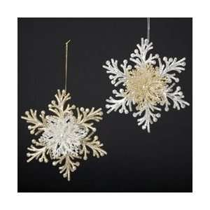Club Pack of 12 Silver & Gold Branch Snowflake Christmas
