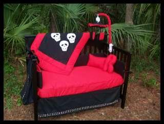 New black red STUDS SKULLS rockabilly Crib Bedding Set