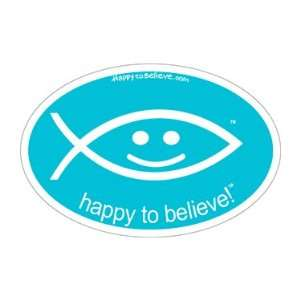Happy to Believe Christian Fish Euro Sticker (Bright
