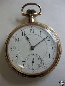 VINTAGE E. HOWARD 14K SOLID GOLD POCKET WATCH 21 JEWEL