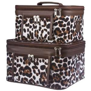 Animal Print Train Cases Cosmetic Makeup   Brown Large Patch Beauty