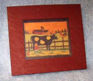 Signed Print of Girl Milking Cow w/Wood Frame and Glass