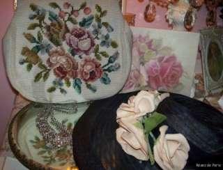 vintage beaded handbag~PINK ROSES~purse~BAG~Pretty