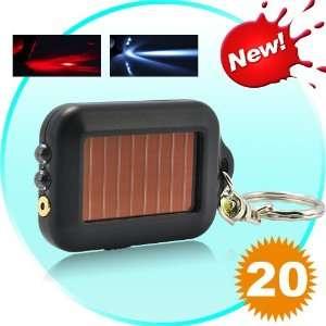 20 Solar Powered Laser Pointer LED Flashlight Keychain Fob