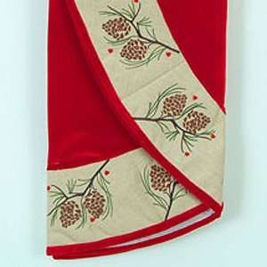 the Birches Red Christmas Tree Skirt with Embroidered Pine Cone Trim