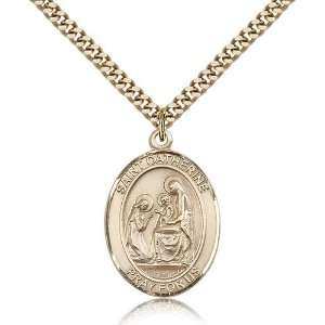 Gold Filled St. Saint Catherine of Siena Medal Pendant 1 x 3/4 Inches