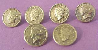 Vintage Gilt Brass Liberty Head Gold Quarter Dollar Coin LIKE BUTTONS
