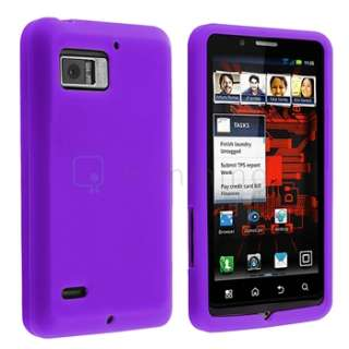 Purple Rubber Silicone Case+Privacy Film+Charger For Motorola Droid