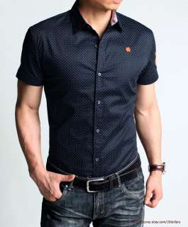 Slim Fit Mens Shirt Short Sleeve Shirts Polka Dots Finest Embroidery