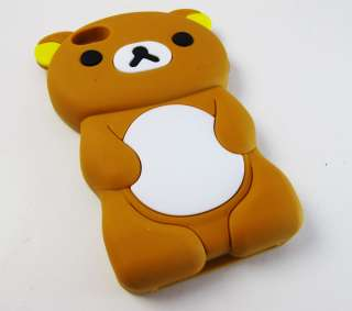 BROWN BEAR SOFT GEL RUBBER SKIN CASE COVER APPLE IPHONE 4 4S PHONE