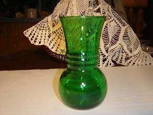 VINTAGE EMERALD GREEN GLASS VASE ANCHOR HOCKING