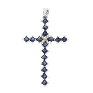 White Gold Genuine Blue Sapphire and Diamond Cross Pendant Jewelry