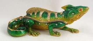 Pewter Swarovski Bejeweled Lizard Trinket Box