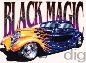 BLACK MAGIC Hot Rod w/ Flames Muscle Car Sticker Decal