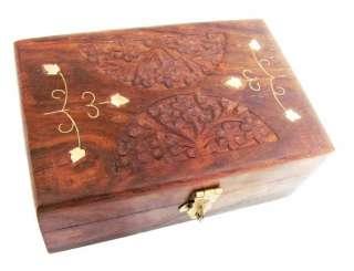 HANDMADE INDIAN JEWELRY STORAGE WOOD WOODEN BOX CASE