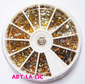1800 x All GOLD Nail Art Rhinestones Glitter Mix Wheel