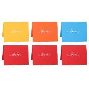 Box Set of 6 Blank Note Cards Thanks (Yellow, Orange, Cyan, Red