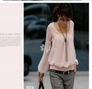 Round Neck Chiffon Blouse Shirt Top WF 0120