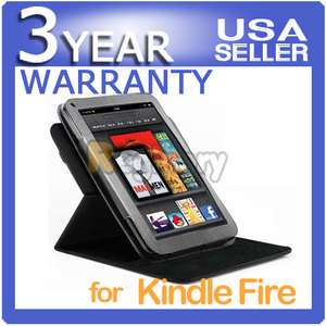 360 Degree Rotary Leather Stand Case Cover for  Kindle Fire 7