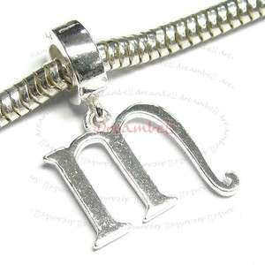 1x Sterling Silver Letter Initial M Dangle European Bead Charm PB0223W