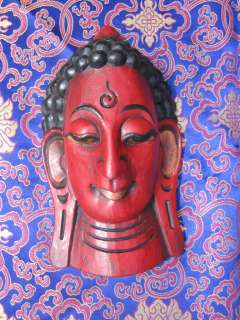RARE HAND CARVED WOODEN BUDDHA TIBETAN BUDDHIST MASK