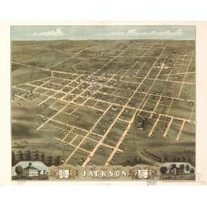 Map Birds eye view of the city of Jackson, Madison County, Tennessee