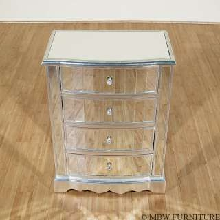 Distressed Silver 4 Drawer Mirrored Nightstand