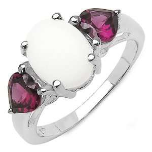 10 Carat Genuine Opal & Rhodolite Garnet Sterling Silver Ring Jewelry