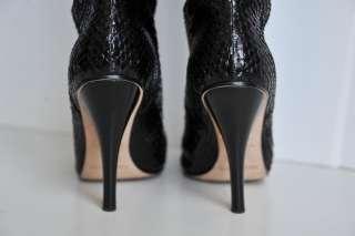 JIMMY CHOO Black SNAKESKIN Tall Knee Boots 10.5/40.5
