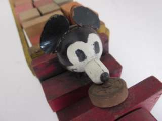 MICKEY MOUSE walt disney wooden wood blocks pull toy truck