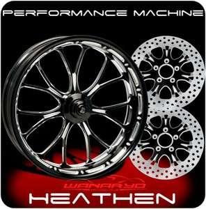 BLACK PERFORMANCE MACHINE HEATHEN WHEELS, ROTORS, PULLEY TIRES HARLEY