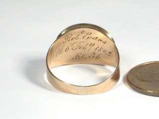 ANTIQUE ENGLISH GOLD LOCKET MOURNING RING EVANS 1803