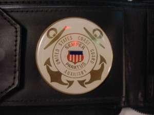 USCG US COAST GUARD AUXILIARY LOGO BLACK LEATHER ZIPPERED WALLET NEW