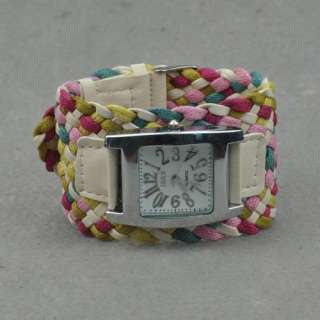 Multicolor Bohemia Twist Charm Lovely Bangle Bracelet Watch ad1472