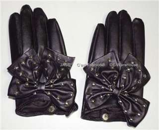 Punk Rock Goth Party Glove ManMade Leather Studded BOW