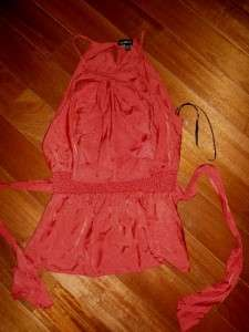 BEBE Baked Apple Red Halter Ruffled Attached Belt Tie Tank Top euc XS