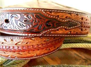 WESTERN HAND TOOLED LEATHER MENS BELT & BUCKLE