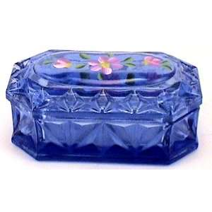Trinket Box 6 Inch Blue With Hand Painted Flowers By Fenton Art Glass