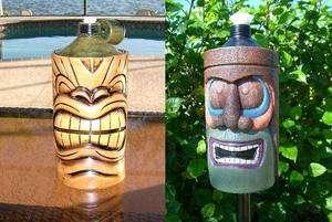 Tiki God Torch Light Hawaiian Luau Face Table Post Deck Parrothead