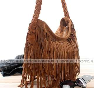 BOHO HIPPIE Faux Suede Fringed Cross Body Bag 2 Colors
