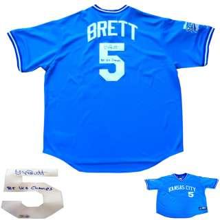 George Brett Signed 1985 World Series Baseball Jersey MLB COA Kansas