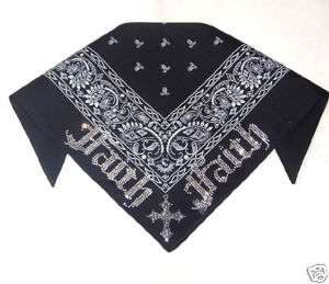 CRYSTAL RHINESTONE FAITH CROSS BLACK BANDANA HEADBAND