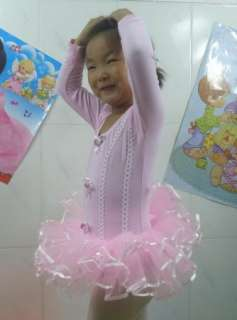Pink Girl Party Long Sleeve Leotard Ballet Tutu Costume Dance Skirt