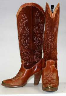 ZODIAC WOMENS FASHION WESTERN/COWBOY STACKED HEEL LEATHER BOOTS sz 6 M