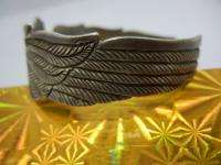 22K GOLD STERLING SILVER AMERICAN BALD EAGLE BIRD CUFF BRACELET