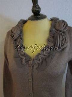 New Luluvia Charcoal Gray Rosette Flower Applique Collar Cardigan